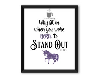 Why Fit In When You Were Born To Stand Out // Dr. Seuss // Purple // 8x10 Printable // Nursery // Poster Art Print