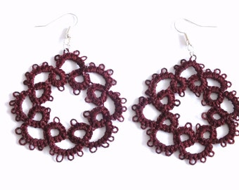 Marsala Flower Tatted Earrings, 8 Petals Flower Tatted Lace Earrings, Maroon Flower Tatting Earrings, Burgundy Lace Earrings, Marsala Flower