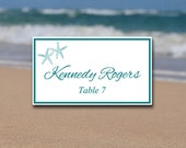 "Starfish Place Card Template - Beach Wedding Escort Card ""Lazy Starfish"" Caribbean Blue Wedding Table Card - Wedding Reception Name Card"