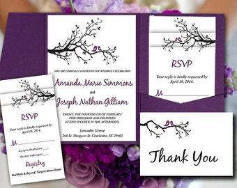 Love Bird Pocketfold Wedding Invitation Template Set Branch Purple Black RSVP