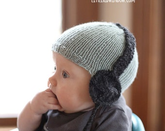 Baby Headphone Hat KNITTING PATTERN - knit hat pattern for babies, infants - sizes 0-3 months, 6 months, 12 months, 2t +