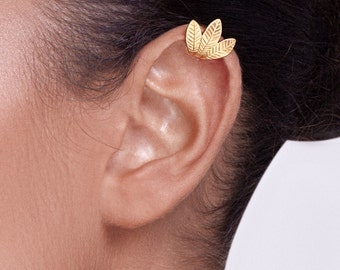Gold Leaves Ear Cuff - ear cuff no piercing , leaf ear cuff , gold ear cuff , woodland ear cuff , wedding ear cuff , wedding jewelry