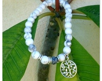 White Turquoise Howlite Beaded Tree of Life Bracelet.