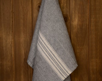 Linen Tea Towel Stonewashed Charcoal with White Stripes