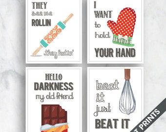 Rollin, Your Hand, Hello Darkness, Beat it (Funny Kitchen Song Series) Set of 4 Art Prints (Featured in 30 - White) Kitchen Art