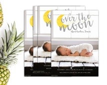 Birth Announcement // Printable Baby Announcement // Moon & Stars Baby Announcement // 5x7 Printable Photo Birth Announcement // The Andrew
