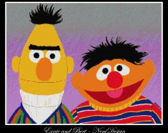 Ernie and Bert - cross stitch pattern - cross stitch Ernie and Bert - cross stitch cartoon - Erine - PDF pattern - instant download!