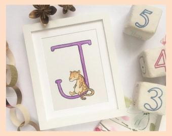 "J is for Jaguar. Animal alphabet art. 8""x10"" mounted print"