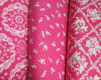 Lecien Flower Sugar, Fall 2015, Hot Pink, Fat Quarter Bundle of 3, Japanese Fabric