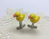 Rubber Duck Cufflinks, Tiny Rubber Ducky Cufflinks, Fathers Day Gift