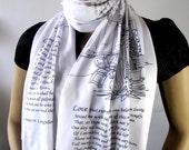 THE DIVINE COMEDY Book Scarf Literary Scarf  Dante Alighieri Illustration Scarf -Paolo and Francesca- Book Lovers Gift Classic Literature