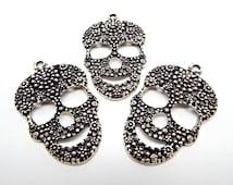 3 Skull Pendants, Large Skulls, Day of the Dead, 48mm Antique Silver, Gothic Pendant, Halloween Skulls, Metal Pendants, 3 Skulls, UK Seller
