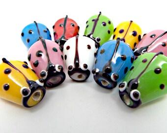 10 Ladybug Beads, Mixed Colors, 10 Ladybird Beads, Lampwork Glass, 16mm Bug Beads, Beading Supplies, Ladybug Jewelry, UK Bead Supplies