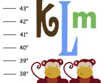 Personalized Aphabet Monkey Canvas Growth Chart