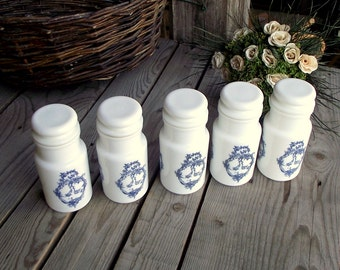 Milkglass Apothecary Jars - Set of 5 - White Glass Kitchen Containers - Blue Decor - Made in Italy - Food Containers - Kitchen Storage