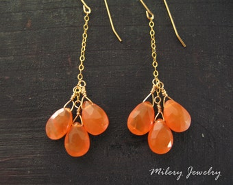Carnelian Cluster Long Dangle Earrings, 14k Gold filled, Birthstone, Carnelian Earrings, OOAK Jewelry, Delicate, Carnelian Cluster, Dainty