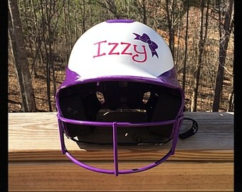 Monogrammed/Personalized Softball Helmet Decal/Sticker with a Bow