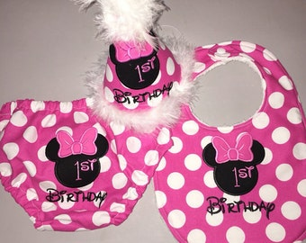 Cake Smash Outfit Girls - Minnie Mouse Birthday Hat, Diaper Cover and Bib - Personalized - Pink Dots - Hot Pink - Solid or Zebra Print