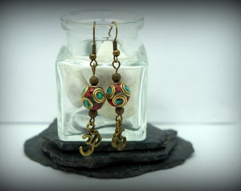 Earrings Nepalese Blue and red, turquoise synthetic and coral, bronze ohm