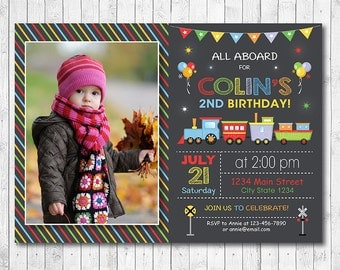 Train Invitation, Choo Choo Train Invite, Choo choo invite, Boys Invitation, Train invite, Photo invitation, Chalkboard, printable