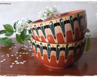 Bulgarian ceramic Brown 2 bowls retro stoneware Tableware 1970
