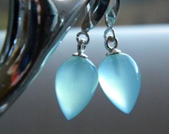 Aqua Blue Smooth Chalcedony Earrings, Acorn Drops, Women's Jewelry, Semi Precious Gemstone Earrings, Sterling Silver, KarenWolfeCreations