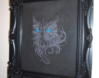Machine Embroidered Baroque Owl Picture in a Frame
