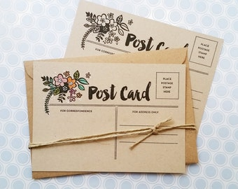 Blank Postcard Set, Flat Note Cards Set, Paper Post Card, Floral Cards, Blank Greeting Cards, Stationary Cards, set of 10