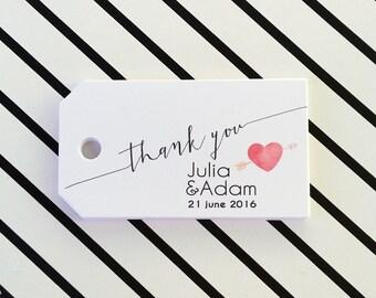 Thank You Wedding Tags, Tags for Wedding, Favor Bag Tags, Hang Tags, Wedding Name Tags, 24 pcs