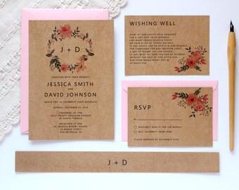 rustic wedding invitation template  etsy, invitation samples