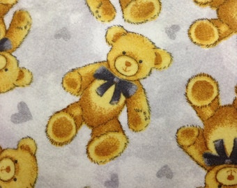 "One, One Yard and 17"" Piece of Fabric - Teddy Bear FLANNEL"