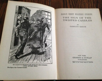 Vintage Nancy Drew book 'The Sign of the Twisted Candles' [1933]