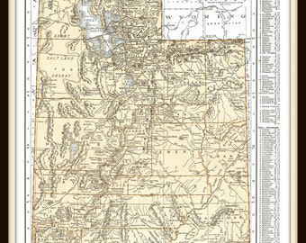 1937 Detailed Map of Utah- Ephemera, for decor, to frame, nostalgia, reference, historical