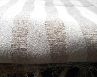 Vintage Cotton Fabric Remnant Natural Wavy Stripe 52 x 54 Scrap