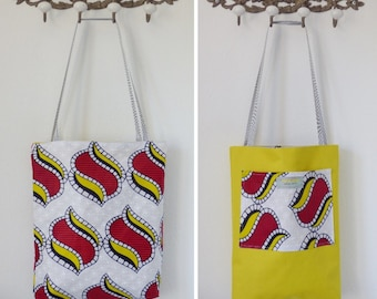 Reversible yellow red white african fabric tote bag, ethnic bag, eco friendly fabric bag, book bag, hobo bag, boho shoulder bag, market tote