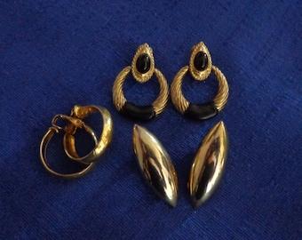 Sale Lot of Three Gold Tone Earrings,Gold Tone Clip Earrings,Gold Tone Stud Earrings,Onyx Clip Earrings