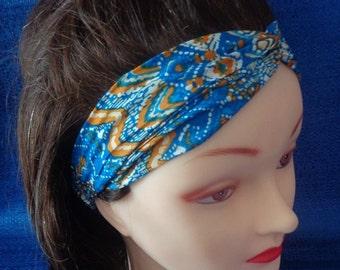 Handmade Turban Headband, Blue Turban Headwrap, Multi-color Turban Headband