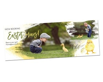 INSTANT DOWNLOAD, Easter Minis Facebook Timeline Cover Template, Photography, Spring, Families, Photos, Baby Chick, Bunnies, Bunny Session