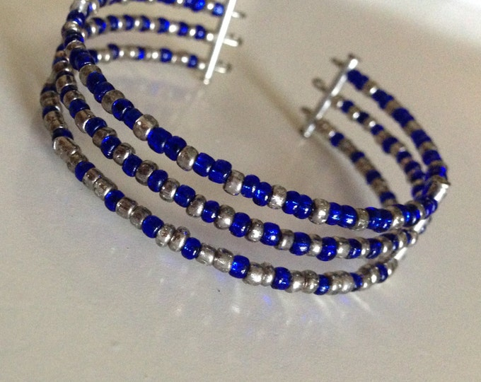 clearance! blue and silver glass beaded cuff bracelet
