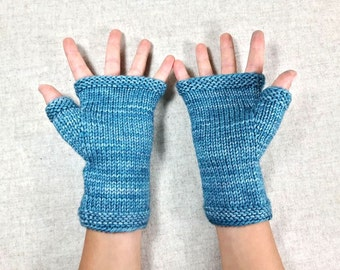 Fingerless Gloves for kids and teens, teal, arm warmers, wool merino