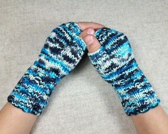 Unique Fingerless Gloves for kids, turquoise, black, white, woolen mittens, arm warmers