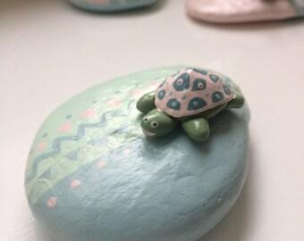 Little Tortoise Figurine - Tortoise Art - Sculpey Figurine - Tortoise Gift