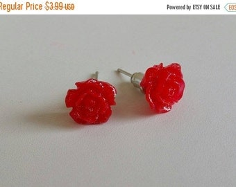 TODAY SALE Red Flower Stud Earrings with Glitters, Mystic Rose Stud Earrings, Everyday Earrings, Wedding Gift