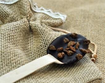 Christmas Gift - Hot Cocoa Spoon -  Handmade Gift - Gift - Gift for Christmas - Burlap Bag - Dark Chocolate