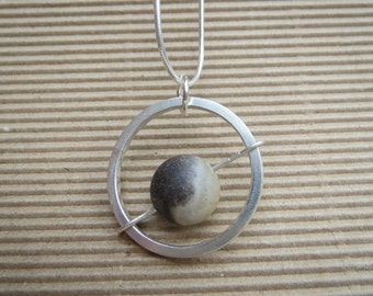 Sterling silver 'Planet' kinetic pendant