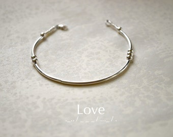 Love Morse Code Sterling Silver Beaded Bracelet