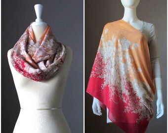 Floral scarf, Nursing cover scarf, wide infinity scarf, floral scarf, nursing cover, nursing scarf, ombre scarf , orange and red scarf