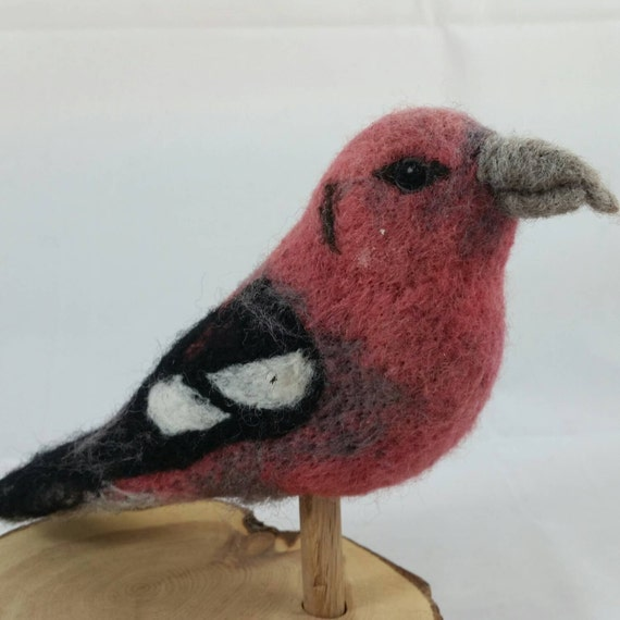 White-winged Crossbill  100% sheep wool needle felted fiber sculpture.