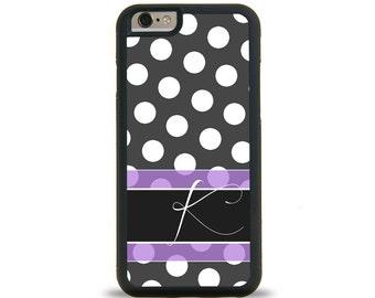 Lavendar Polkadots Damask Monogram Personalized iPhone Case, Monogram Personalized Galaxy Case