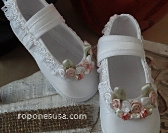 Mod053E240-1 Christening Baby Shoes Baby White Shoes